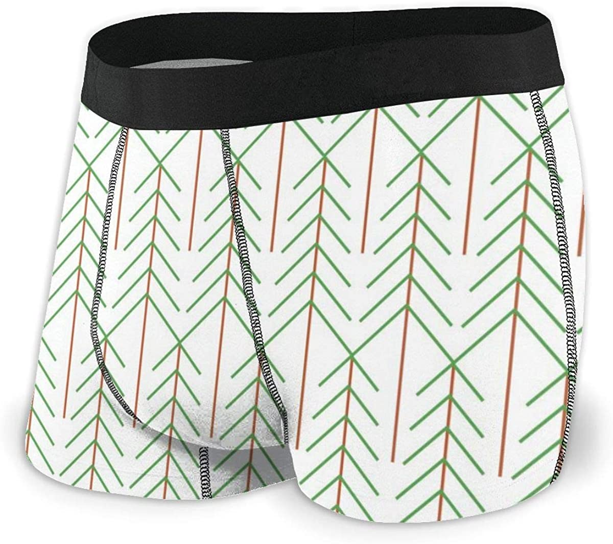 Randolph Wordsworth Mens Boxer Briefs Vector Green Sylized Trees Breathable Underwear