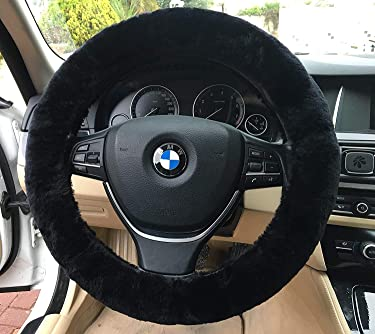 DIAGTREE Car Steering Wheel Cover, Fluffy Pure Australia Sheepskin Wool, Universal 15 inch (Black)