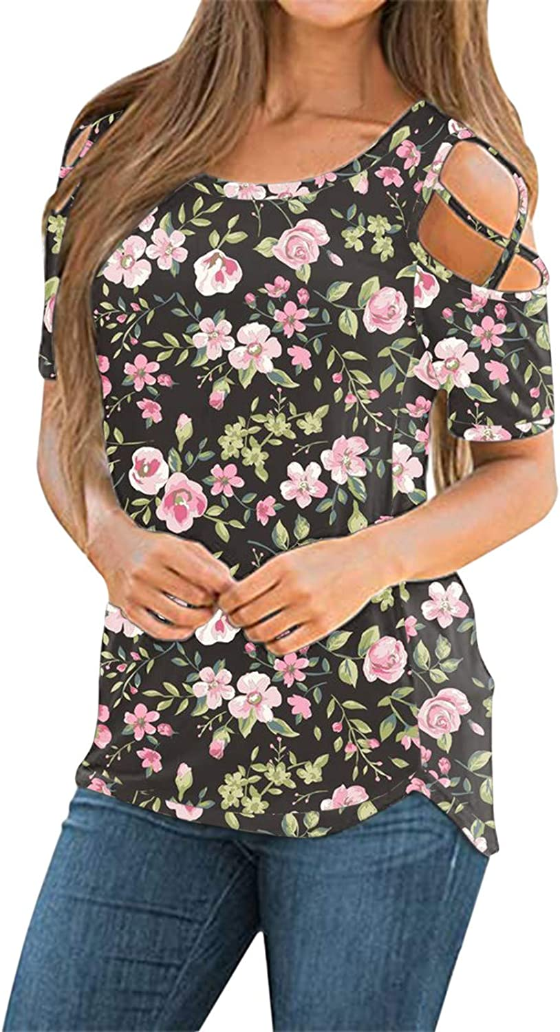 Summer Tops for Women,Womens Tshirts Short Sleeve Summer Tops Strappy Cold Shoulder Shirts Crew Neck Tee Tunic Pink