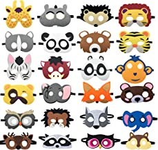 DANGSHAN 24pcs Forest Friends Felt Animal Masks Cosplay Halloween Masks Dress-Up Party Favors Mask for Birthday Gifts for Kids