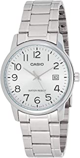 Casio #MTP-V002D-7B Men's Standard Analog Stainless Steel Date Silver Dial Watch
