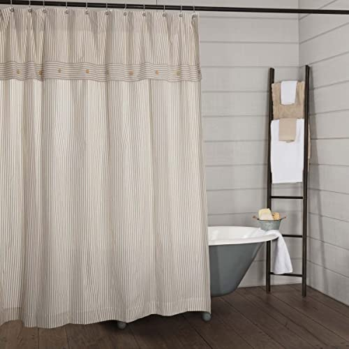 Piper Classics Farmhouse Ticking Stripe Shower Curtain 72x72 Taupe