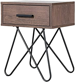 TimmyHouse Side End Nightstand Coffee Table Storage Display Steel Hairpin Legs with Drawer