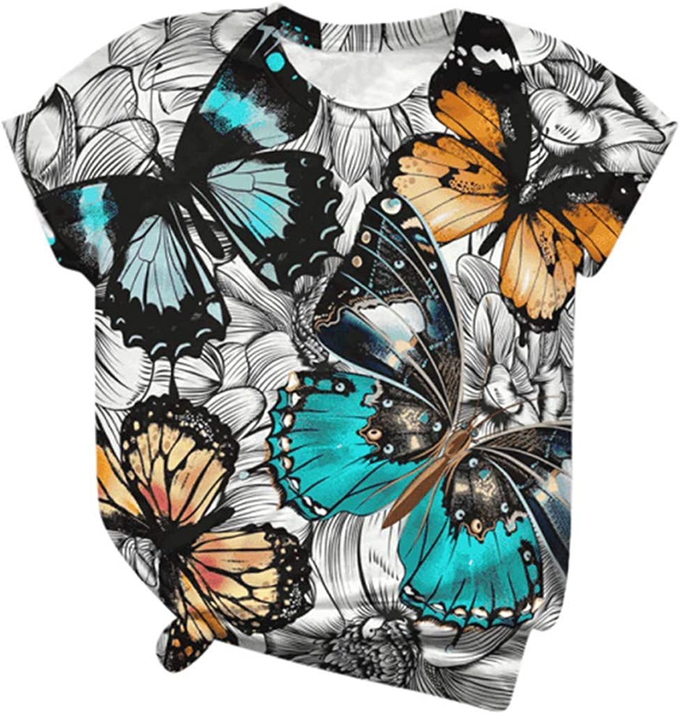 Jan STORE Cute Tops for Women Butterfly Graphic Tees Womens Summer Short Sleeve Tshirts Casual Tunics Blouses