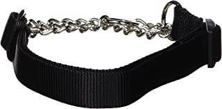 Hamilton 1 by 20 to 32-Inch Adjustable Combo Choke Dog Collar, Large, Chain and Black Nylon