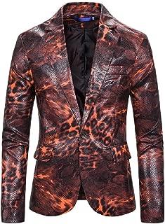 neveraway Mens Costume Leopard Print Tuxedo Single Button Motion Blazer