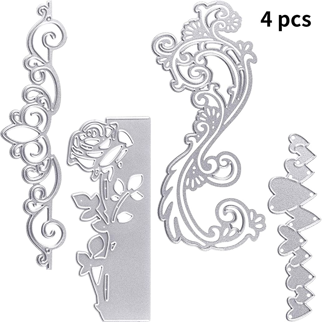 4 Pieces Flowers Cutting Dies 2019 Metal Stencil Template Flower Mould for DIY Crafts Scrapbook Album Paper Card Embossing rrqsednl0491184