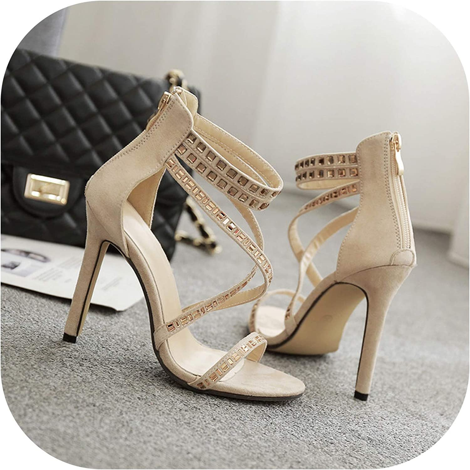 Women's shoes Autumn Super High Heels Sexy Fish Mouth Rhinestone Sandals,