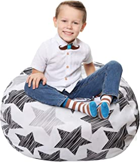 Stuffed Animal Storage Bean Bag - Large Beanbag Chairs for Kids - 90+ Plush Toys Holder and Organizer for Boys and Girls - 100% Cotton Canvas Cover - Multicolor (Hatch Stars, Large)