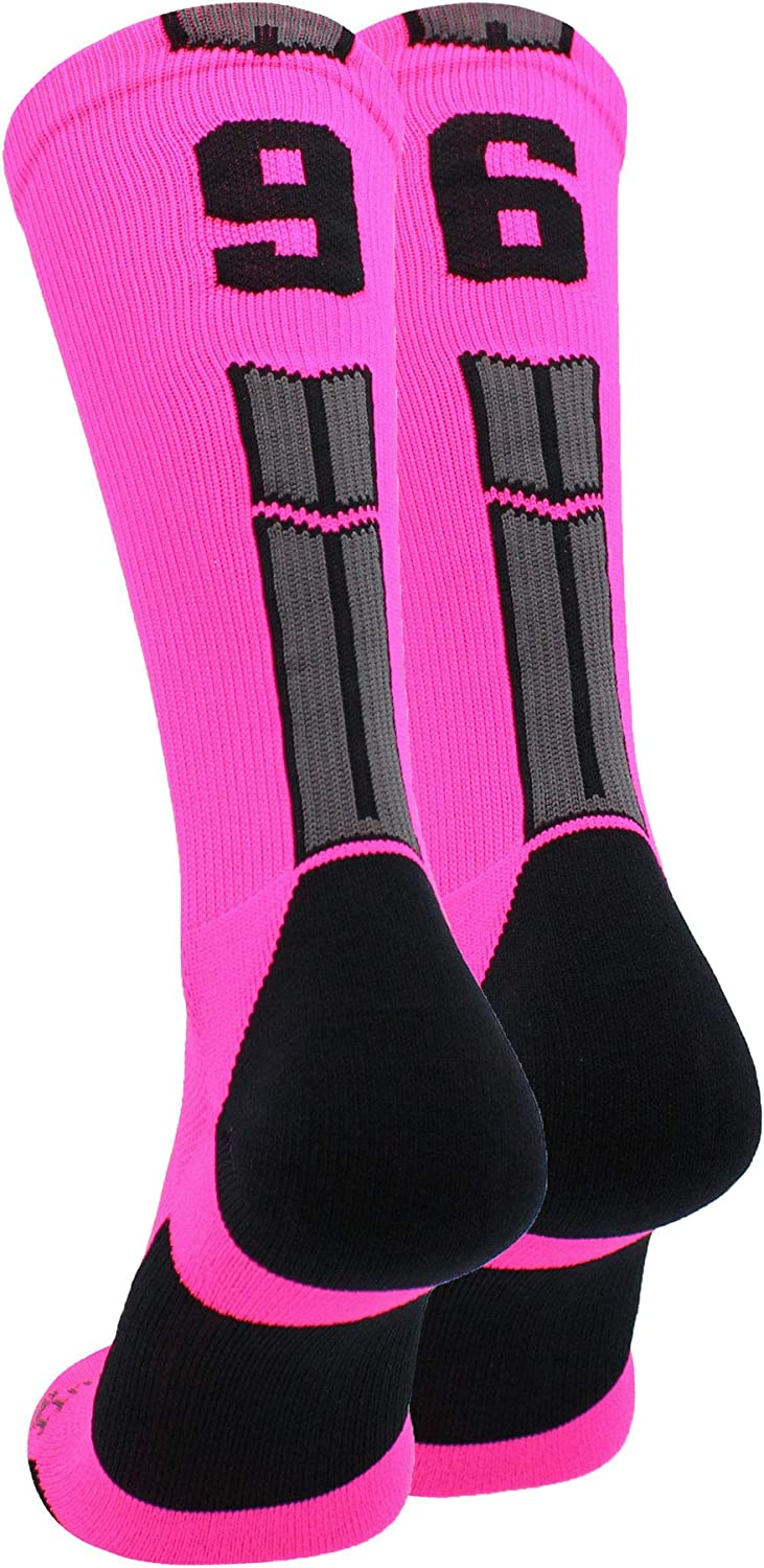 MadSportsStuff Neon Pink and Black Player ID Custom Number Crew Socks for Basketball Lacrosse Volleyball Boys and Girls