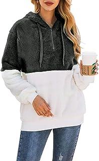 Bwiv Felpe con Cappuccio Donna Pullover Tops Termico a Manica Lunga Maglione Donna con 1/4 Zip Caldo Ragazza Invernale
