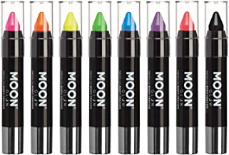 Moon Glow - Blacklight Neon Face Paint Stick/Body Crayon makeup for the Face & Body - Pastel set of 8 colours - Glows brightly under blacklights
