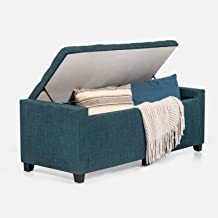 Adeco Classic Rectangular Tufted Fabric Ottoman Bench with Large Storage, 48x18x17, Blue