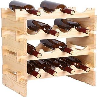 GTYT Casier à vin en Bois, casier à vin Porte-Bouteille Support casier à vin 4 Niveaux étagère de Stockage de vin Armoire ...