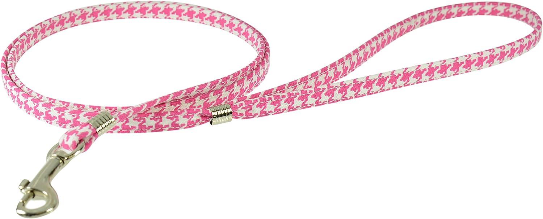 Evans Collars Flat Lead, 4', Houndstooth, Pink