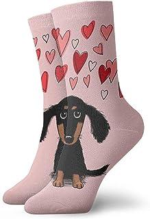 AEMAPE, Lindo cachorro de perro salchicha con calcetines de corazones de San Valentín calcetines deportivos casuales de comodidad clásica para hombres y mujeres unisex