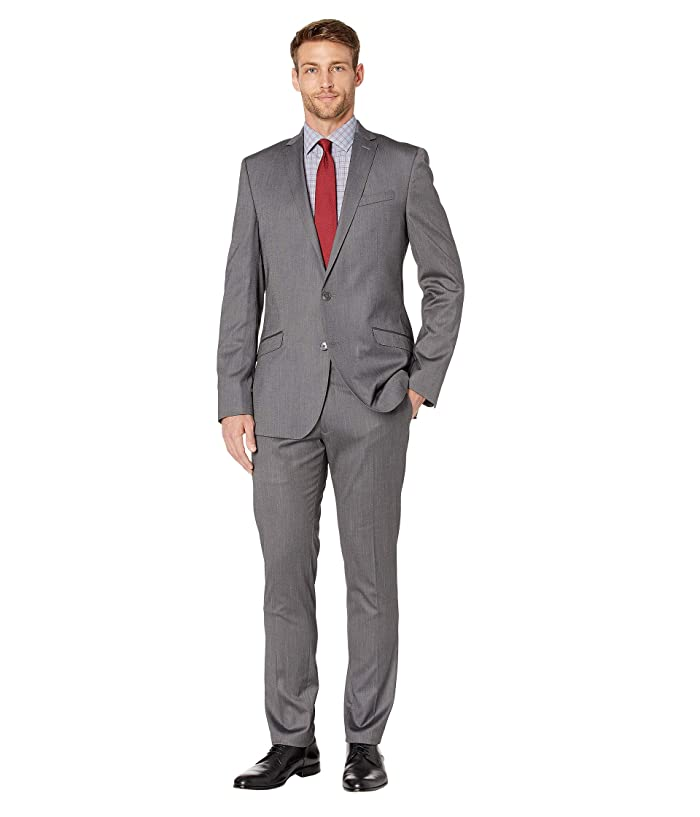 Kenneth Cole Reaction  Solid Stretch Skinny Suit (Silver) Mens Suits Sets