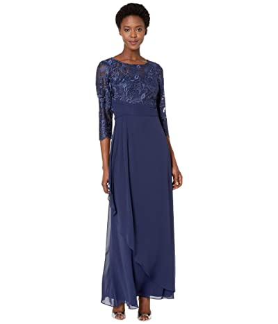 Alex Evenings Long A-Line Dress with Embroidered Bodice (Navy) Women