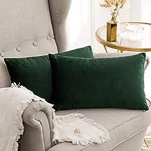 In House 2-Piece Velvet Rectangular Decorative Seat Cushion 30x50cm - Dark Green