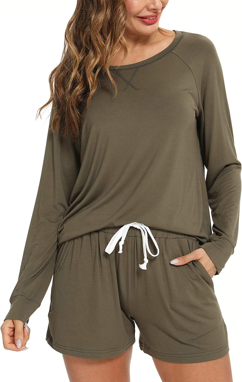 BAPOOWAY Womens Pajamas Set Baltimore Mall Seattle Mall Leopard Sleev Pjs Sleepwear Long