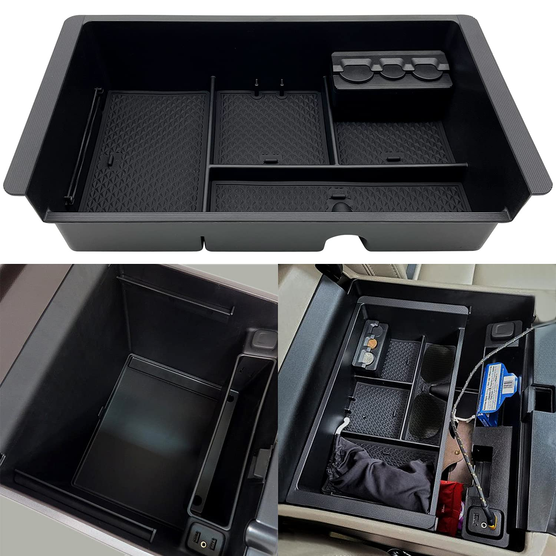 JOJOMARK Center Console Tray Organizer Compatible with 2014-2018 GMC Sierra Accessories, (2015-2020) Yukon/Chevy Tahoe Silverado Suburban, Armrest Storage Box GM Vehicles Replaces 22817343(Black)