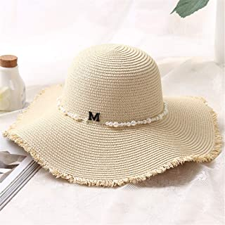 Hat Straw hat Women's Beachwear Straw Hat Big Brim Hat Summer UV Hat Sun hat Panama hat (Color : Navy, Size : 56-58cm) (Color : Beige, Size : 56-58cm)