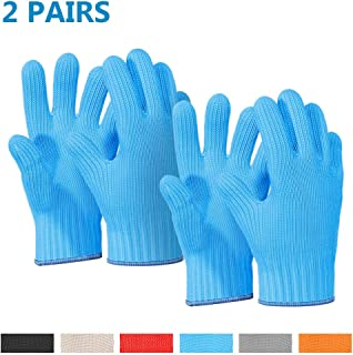 2 Pairs Blue Heat Resistant Gloves Blue Oven Gloves Heat Resistant With Fingers Oven Mitts Kitchen Pot Holders Cotton Gloves Kitchen Gloves Double Oven Mitt Set Oven Gloves With Fingers (Blue, 4 pcs)