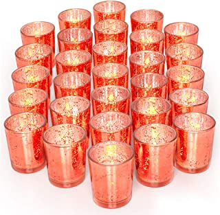 Letine Glass Votive Candle Holders Set of 36 - Speckled Mercury Coral Candle Holder Bulk - Ideal for Wedding Centerpieces & Home Decor