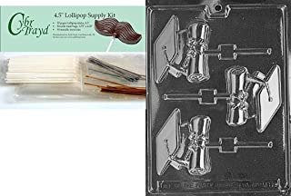 Cybrtrayd 45StK50-S099 Lacrosse Lolly Sports Chocolate Candy Mold 25 Gold and 25 Silver Twist Ties 50 Cello Bags Includes 50 Lollipop Sticks