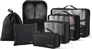 مجموعة من 7 قطع من منظمات تعبئة الأمتعة والسفر مع حقيبة غسيل وحقيبة أحذية (أسود)
