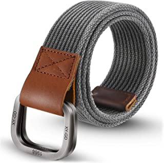 ITIEZY Men's Canvas Belt Military Belts for Men Double D-Ring Buckle Casual Webbing Belt