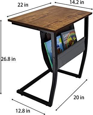Sofa Side End Tables Living Room, Rustic Accent Couch Table with Side Pocket, Vintage C Shaped Table for Coffee Snack Laptop