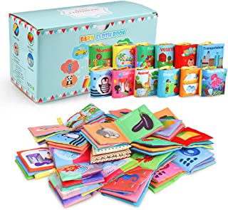 Acekid Baby Cloth Book, 12pcs Soft Stroller Books - Nontoxic, Colorful and Crinkle, Idea for Infants and Toddlers Birthday...