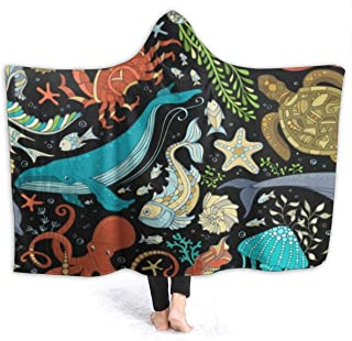 OuLian Whale Dolphin Seahorse Hooded Blankets Fleece Plush Warm Cozy Sherpa Wearable Blanket Throw Cuddle Poncho Cloak Cape Wrap for Women Men Bed Sofa Couch(Adults Twin 60 x 80 inch)