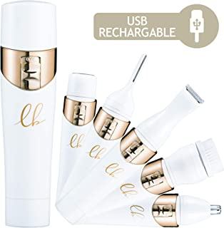 Painless Hair Remover for Women - Gold Facial Hair Removal | 5 in 1 Face Grooming Tools - Electric Trimmer, Hand Leg Shaver, Nose Hair & Eyebrow Trimmer, Brush | USB