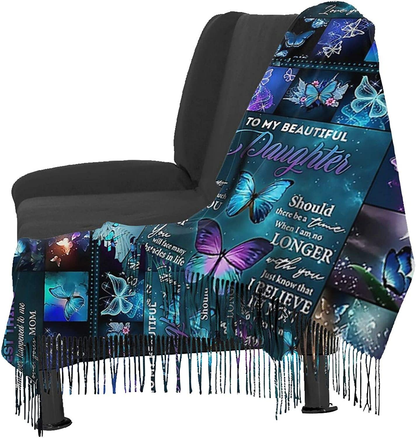 To My Daughter Butterfly Cashmere Feel Scarf Lightweight Soft Scarfs For Boys Girls Creative Warm Cold Weather Blanket Scarf