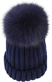 LITHER Women Winter Kintted Beanie Hats with Real Fox Fur Pom Pom