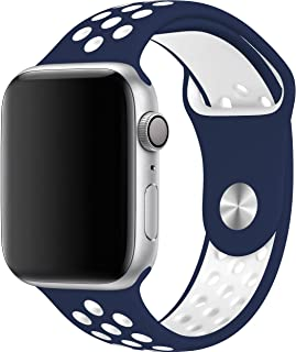 """Silicone Watch Band For Apple 44"""" mm dark blue&white"""
