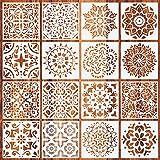 Jurxy 16 unidades de plantillas de dibujo de mandala reutilizables para pintar con puntos herramientas de pintura geométrica pintura sobre madera de aerógrafo rocas y paredes arte 6 pulgadas Estilo 4