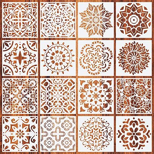 Jurxy 16 Stück Mandala Schablone Set Blumenmuster Zeichenschablone Malerei Wand Dotting Malvorlage Airbrush Vorlage Rock Punktierung Wiederverwendbar Groß Laserschnitt Malschablone - 15x15cm Stil 4