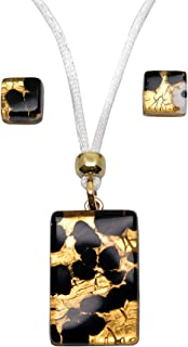 Murano Glass Set of Rectangle Pendant and Earrings (Amber)