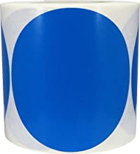 Blue Color Coding Labels for Organizing Inventory 5 Inch Round Circle Dots 500 Total Adhesive Stickers On A Roll