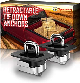 Tigeracing Tie Down Anchors Retractable Truck Bed Top Side D Ring for 2015-2019 F150   2017-2019 F250&F350 Super Duty   2017-2019 Raptor - All Metal 3000 LBS Capacity (of 2)