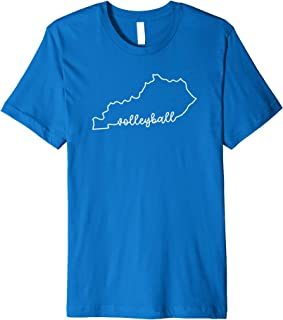 State of Kentucky Outline with Volleyball Script ACJ217b Premium T-Shirt