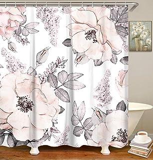 پرده حمام گلدار آبرنگ LIVILAN ، گلهای انتزاعی پارچه حمام مجموعه ای با قلاب شکوفه صورتی گل دکور حمام خاکستری 72x72 اینچ ماشین قابل شستشو