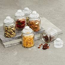 Home Centre Mimosa Storage Glass Jars - Set of 6 Pcs (250 ml) - Transparent