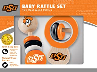 MasterPieces NCAA Oklahoma State Cowboys, Natural Wood, Non-Toxic, BPA, Phthalates, & Formaldehyde Free, Baby Rattle, 2 Pack
