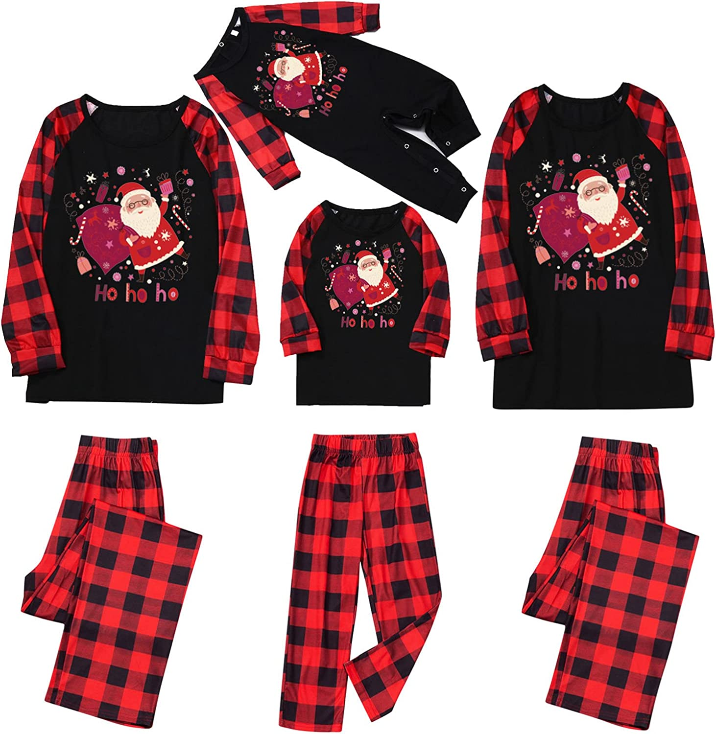 Holiday Family Matching Pajamas Cotton Blend Pjs Set Sleepwears Long Sleeve Tops Jumpsuit Pant Set Household Outfits