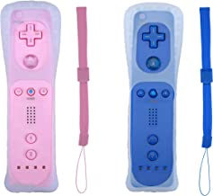 Poglen 2 Packs Wireless Gesture Controller Compatible for Nintendo wii wii u Console-With Silicone Case and Wrist Strap for wii Controller (Pink and Deep Blue)
