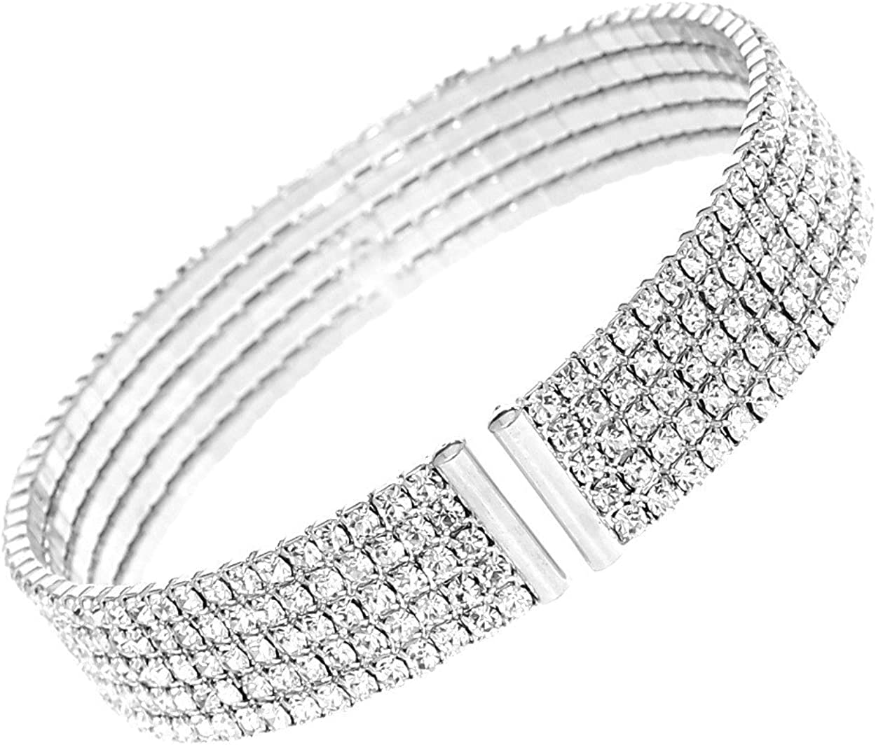 Rosemarie Collections Women's 5 Row Crystal Cuff Bangle Bracelet